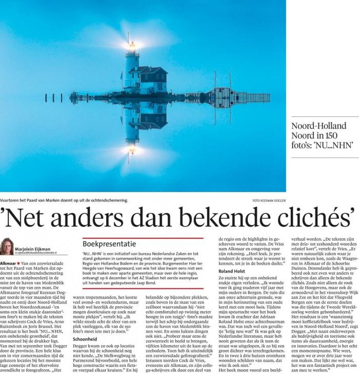 Artikel in Noord-Hollands Dagblad over boek NU NHN